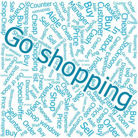 ledger: go shopping,Word cloud art background