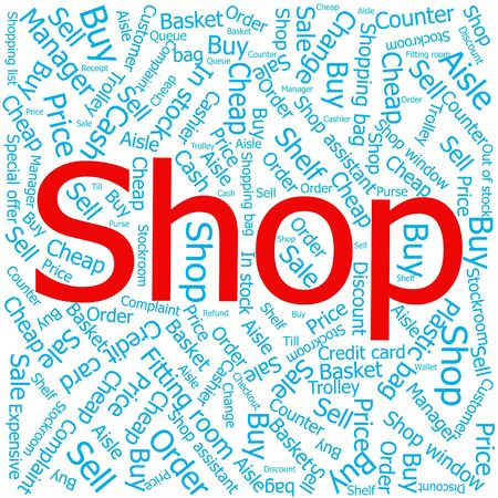 ledger: shop,Word cloud art background Illustration