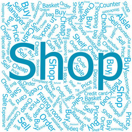stockroom: shop,Word cloud art background Illustration