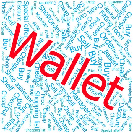 stockroom: wallet,Word cloud art background