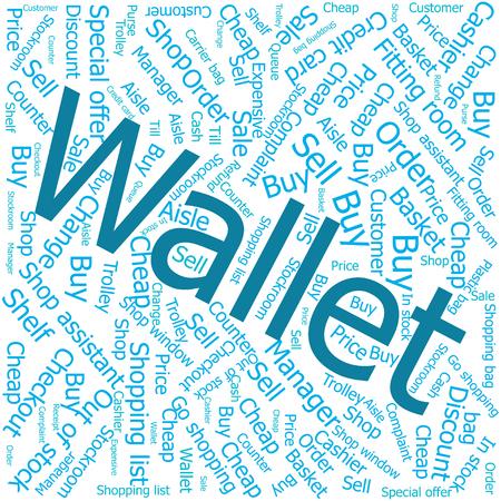 shop assistant: wallet,Word cloud art background