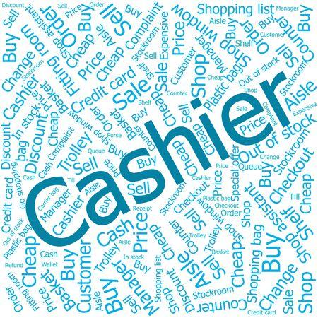 ledger: cashier,Word cloud art background Illustration