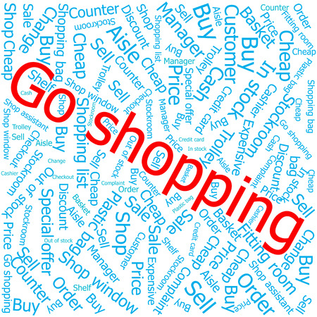 shop assistant: go shopping,Word cloud art background