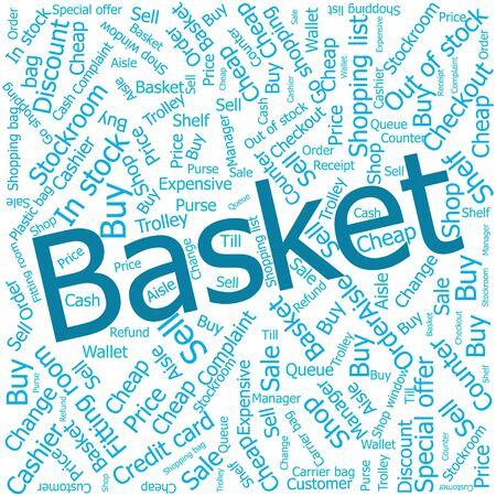 shop assistant: basket,Word cloud art background
