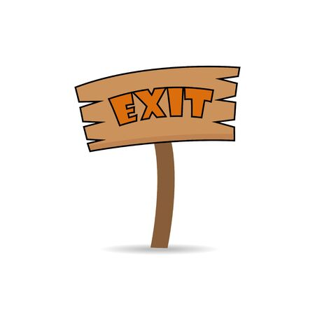 exit sign: Exit sign made of wood Illustration