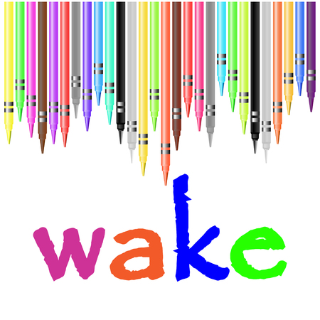 wake: wake poster, painted with pastel crayons Illustration