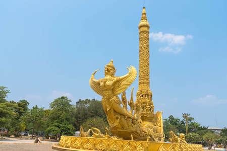 garuda: Gold garuda carving on the ship at Thung Sri Muang park in Ubon Ratchathani province, Thailand
