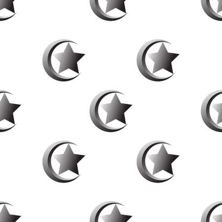 crescent: seamless pattern with Star and crescent,Islam symbol