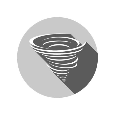 hurricane disaster: cyclone icon with long shadow on Circle