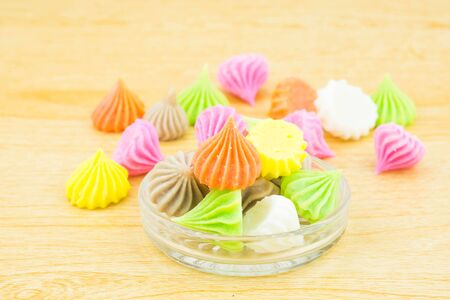 chewy: Aalaw candy, colorful Thai dessert with sugar crust and soft chewy inside made from flour,selective focus