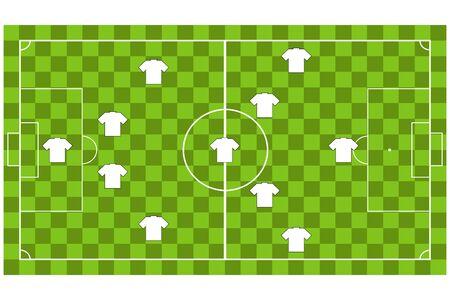 soccer coach: Soccer team formation Illustration
