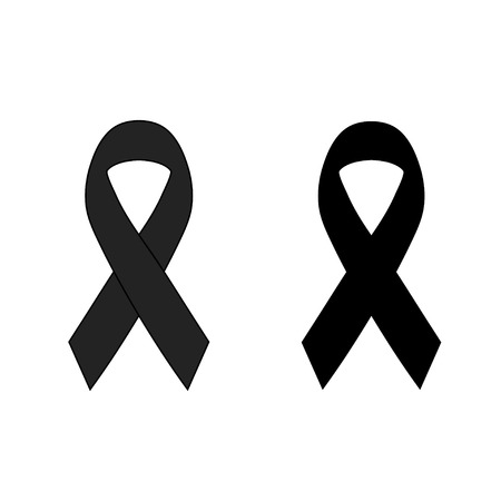 grieving: vector of Black ribbon mourning sign Illustration