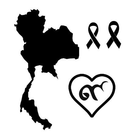 melanoma: vector of Black ribbon mourning sign,Thailand,heart