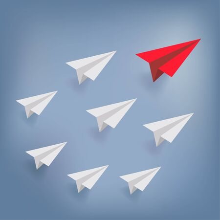 Red airplane as leader and white plane on blue sky. paper art style.