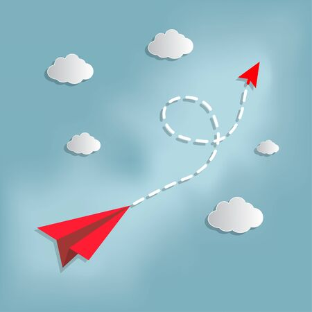 Concept of red paper airplane flying follow the arrow on the sky. paper art style.