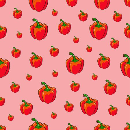 Seamless pattern with red pepper