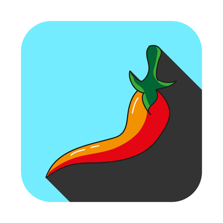 chili pepper with long shadow on blue background Illustration
