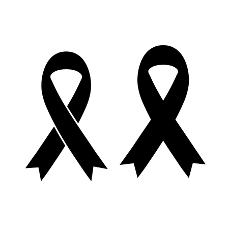 Vector of black ribbon mourning sign Ilustracja