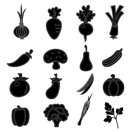 vector of Vegetables icon set Vettoriali