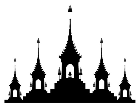 The royal funeral pyre in silhouette black and white illustration.