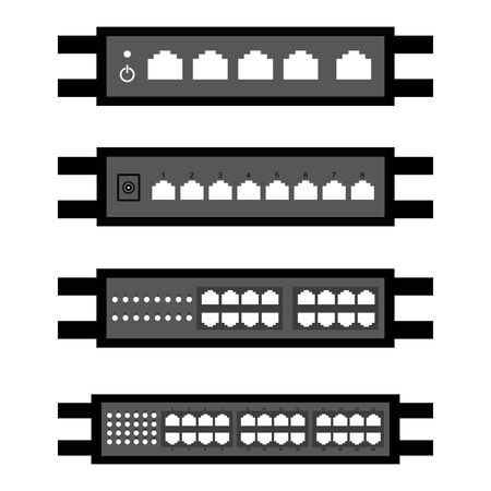 vector of Network switch or router icon set Illustration