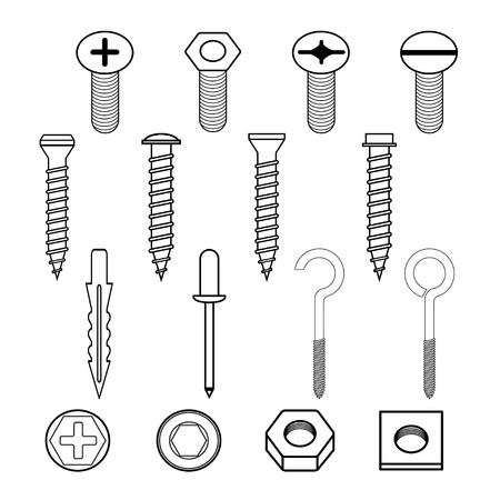 ファスナー壁フック ボルトおよび壁プラグ コレクション アイコン セット