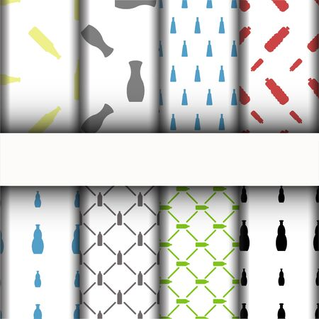 patterns and texture, bottle icons set. Ilustração