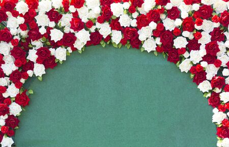 White and red roses arranged beautifully for the background.