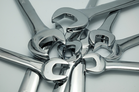 close up  wrench: The equipment for professional Stock Photo