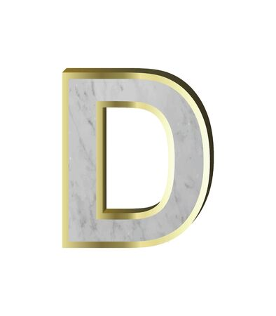 One letter from marble with gold frame alphabet set isolated over white. 3D illustration. marble texture Stock Photo