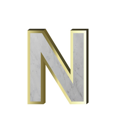 One letter from marble with gold frame alphabet set isolated over white background Illustration