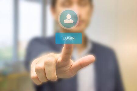 Business man pressing security code on virtual keypad