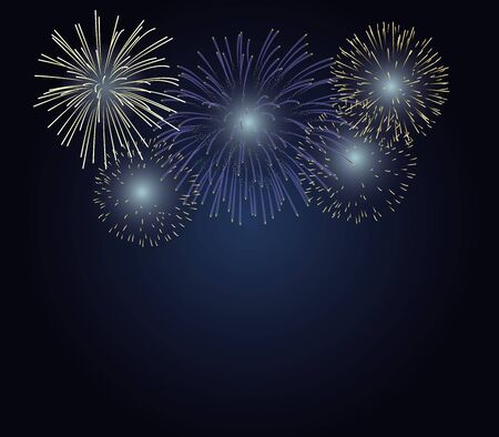 fireworks on twilight background with copy space at the under area of image. Design for celebration event in vector illustration