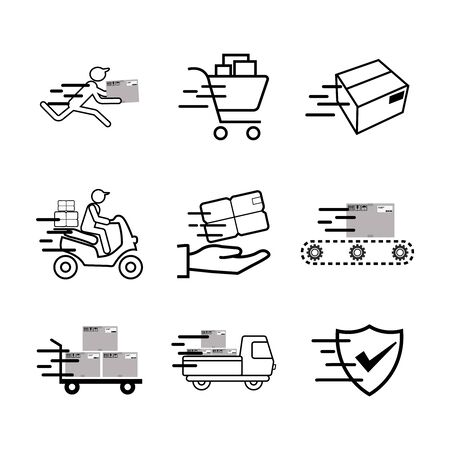 Service Industry including Delivery, Moving, Transportation and Logistic signs icons set. Stock Illustratie