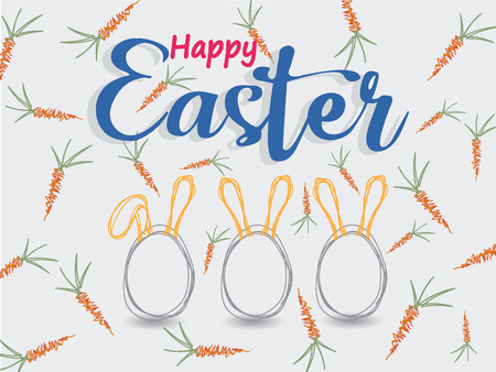 Background image of orange carrot with green leaves, Easter eggs with rabbit ears.