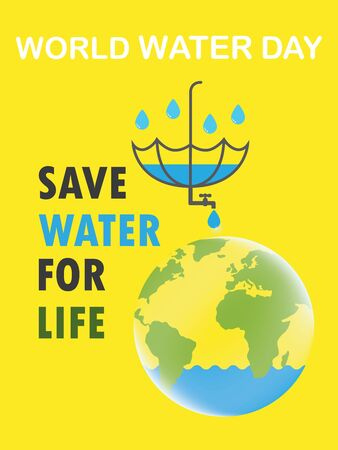 Saving water and world environmental protection concept. World water day. Card for your design.Water droplets with the background are waves of blue tones with hands of people help to embrace water
