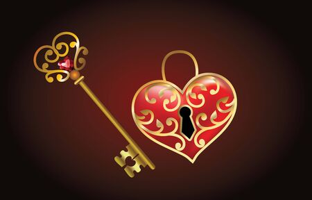 heart-shaped lock and key with Jewelry heart in a vintage style Retro background, Valentine greeting card