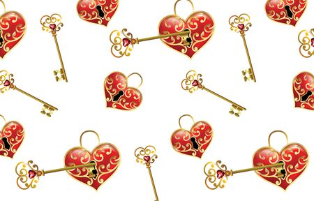 Red Hearts Pattern Gems Icons Love. The background image of a red ruby with a heart shape. A symbolic of heart with a keyhole and a key.