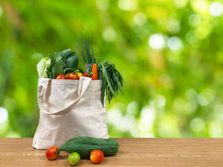 shopping bag full of groceries on green background. Cotton eco-bag with green fresh vesgetable and fruits on the eco background.