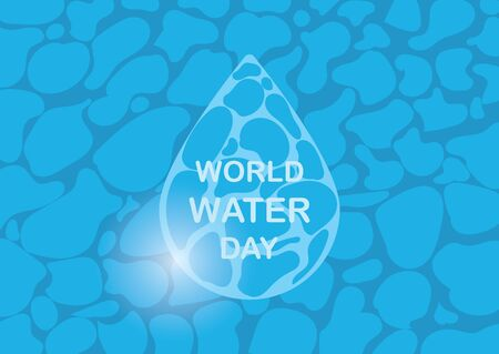 Saving water and world environmental protection concept. World water day. Card for your design.Water droplets with the background are waves of blue tones. Shining blue water ripple pool abstract.