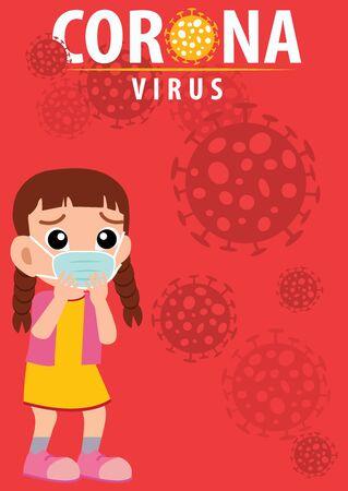 Novel Coronavirus (2019-nCoV). Virus Covid 19-NCP. Coronavirus nCoV denoted is single-stranded RNA virus. Background Cartoon characters who are scared of children who believe in virus cells. Horizontal banner, poster, header for website