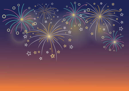 Vector Illustration of colorful Firework design on dark blue background with sparking bokeh Stockfoto