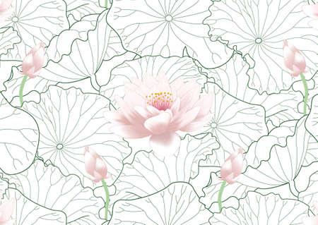 Seamless pattern of lotus and leaf Stockfoto