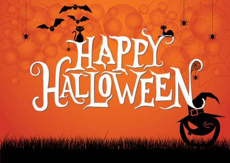 Happy Halloween, ghost night with pumpkins in dark night