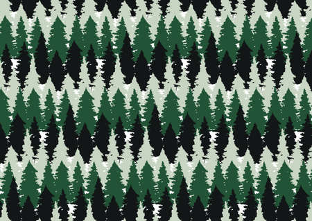 Coniferous snowy forest.Stylized, pretty spruce with a funny pattern. Scandinavian style. Design of pattern background for wallpaper, paper, Christmas gift wrapping, Christmas, holidays.