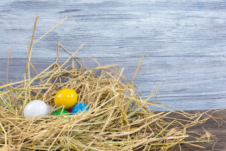 Colorful Easter eggs in a nest made of rice millet.