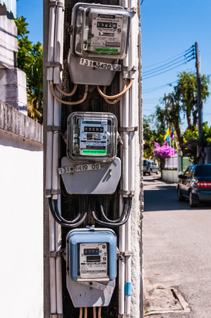 Electric meters at pole, outdoor