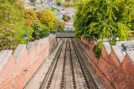 buda: Chemin de fer du ch�teau de Buda, Budapest, Hongrie