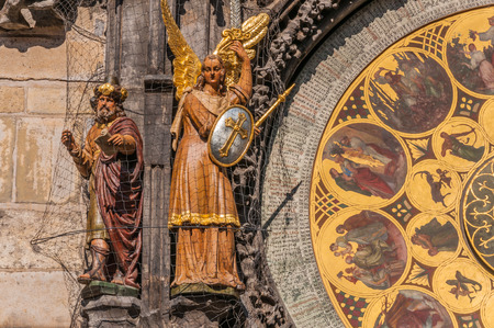 magus: Magus and archangel Michael figures on Prague Astronomical Clock Stock Photo
