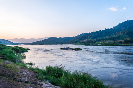 view at Mekong river in the evening photo